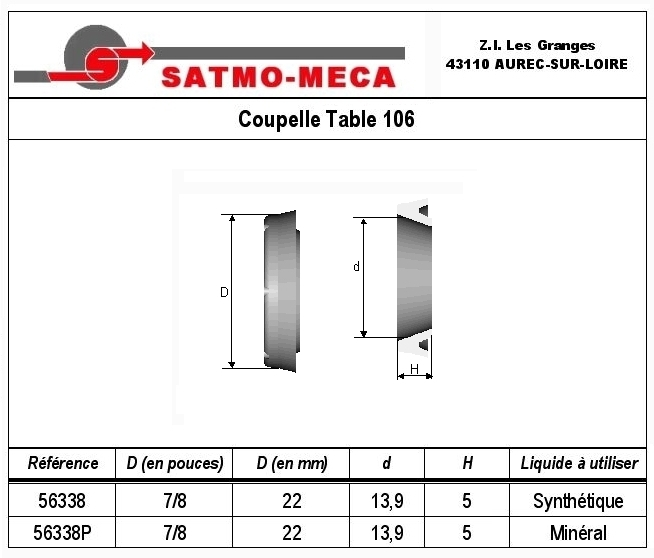 Coupelle Table 106