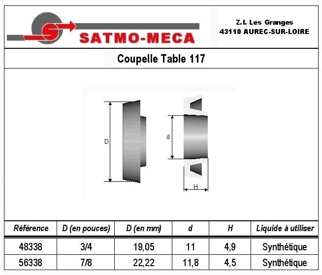 Coupelle Table 117