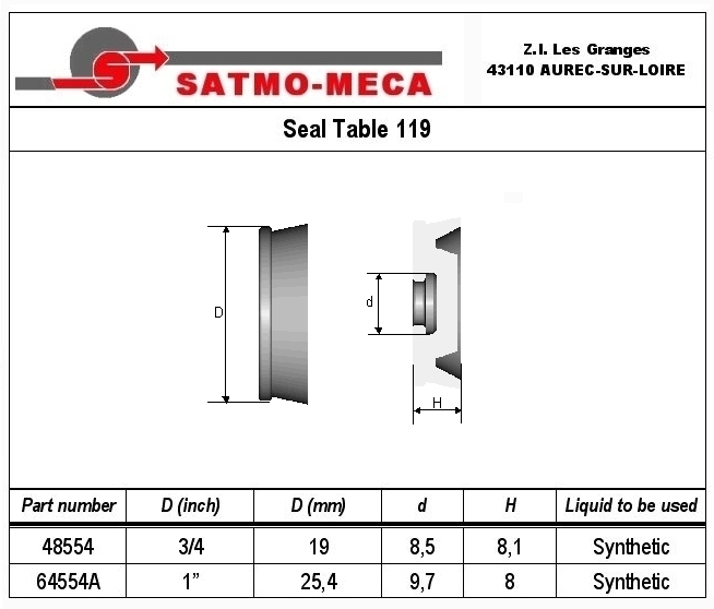 Seal Table 119