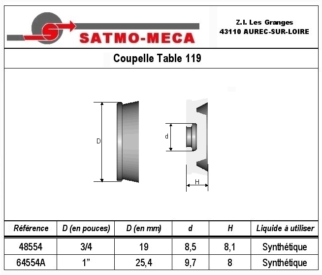 Coupelle Table 119