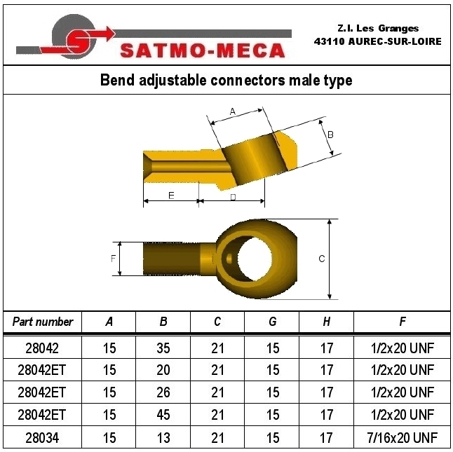 Bend adjustable connectors male type