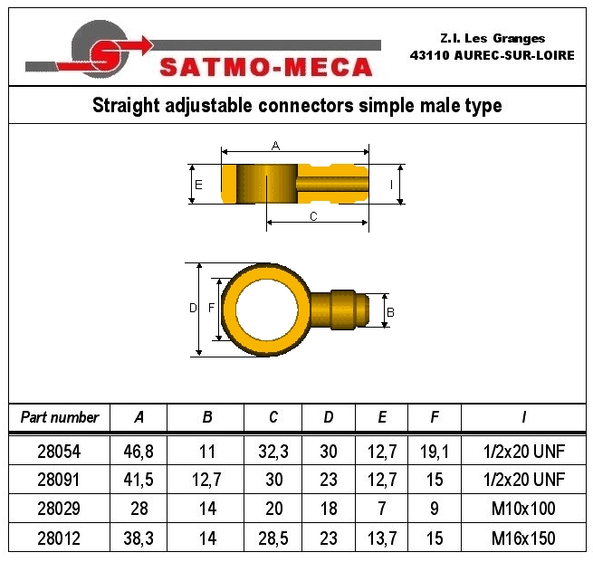Straight adjustable connectors simple male type