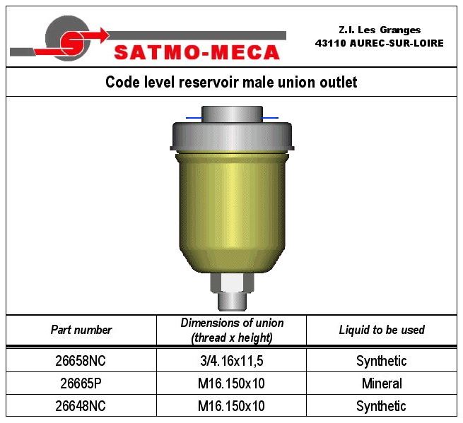 Code level reservoir male union outlet