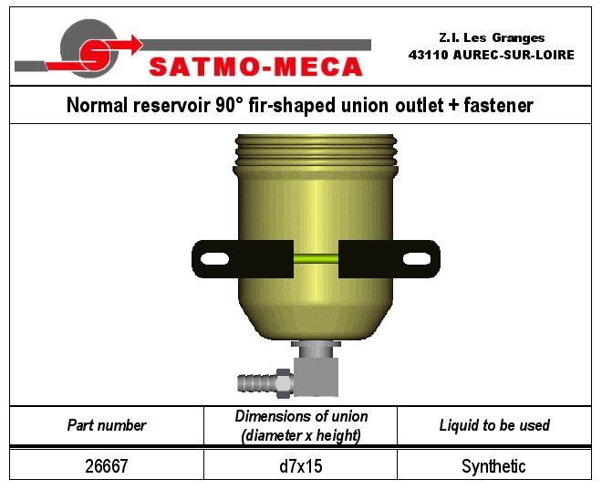 Normal reservoir 90° fir-shaped union outlet + fastener