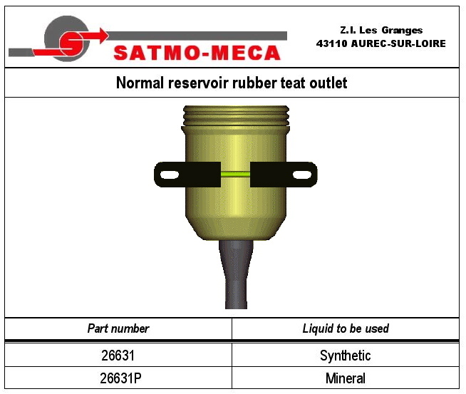 Normal reservoir rubber teat outlet